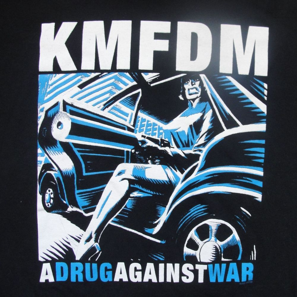 Kmfdm A Drug Against War T Shirt Large Black Leggy Sexy Babe W Gun
