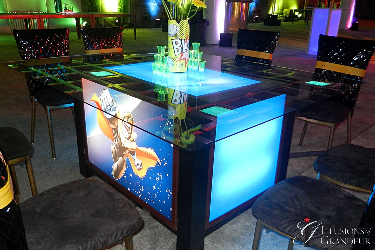 Lightbox Table with Super Hero Image