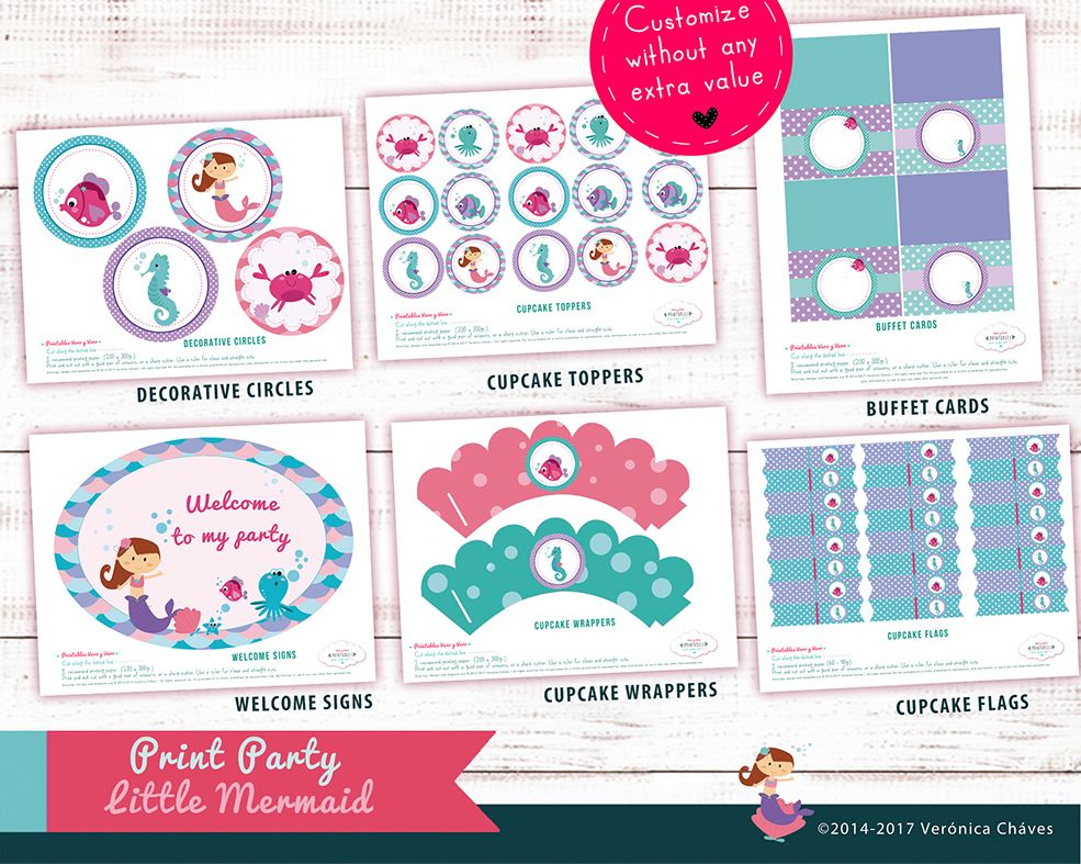 ★Hello, welcome to VeroVeroParties. Thanks for visiting us ★ Printables Mermaid purple theme party. ¡Decorative circles,Cupcake Wrappers and more!  ♥Enjoy party planning¡♥