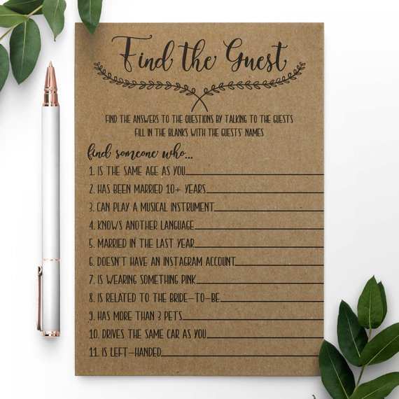 Find The Guest Bridal Shower Gamevirtual Bridal Shower Etsy Bridal Shower Games Bridal Shower Etsy Bridal Shower
