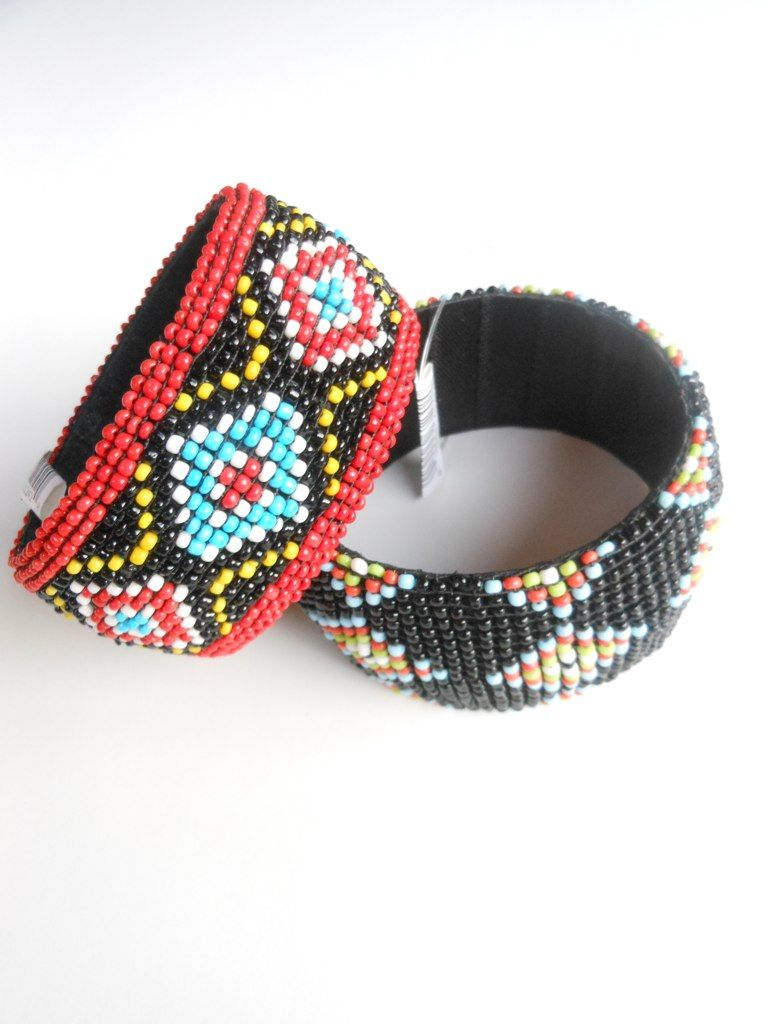 Stack some beaded tribal bangles on your arm 18 ea
