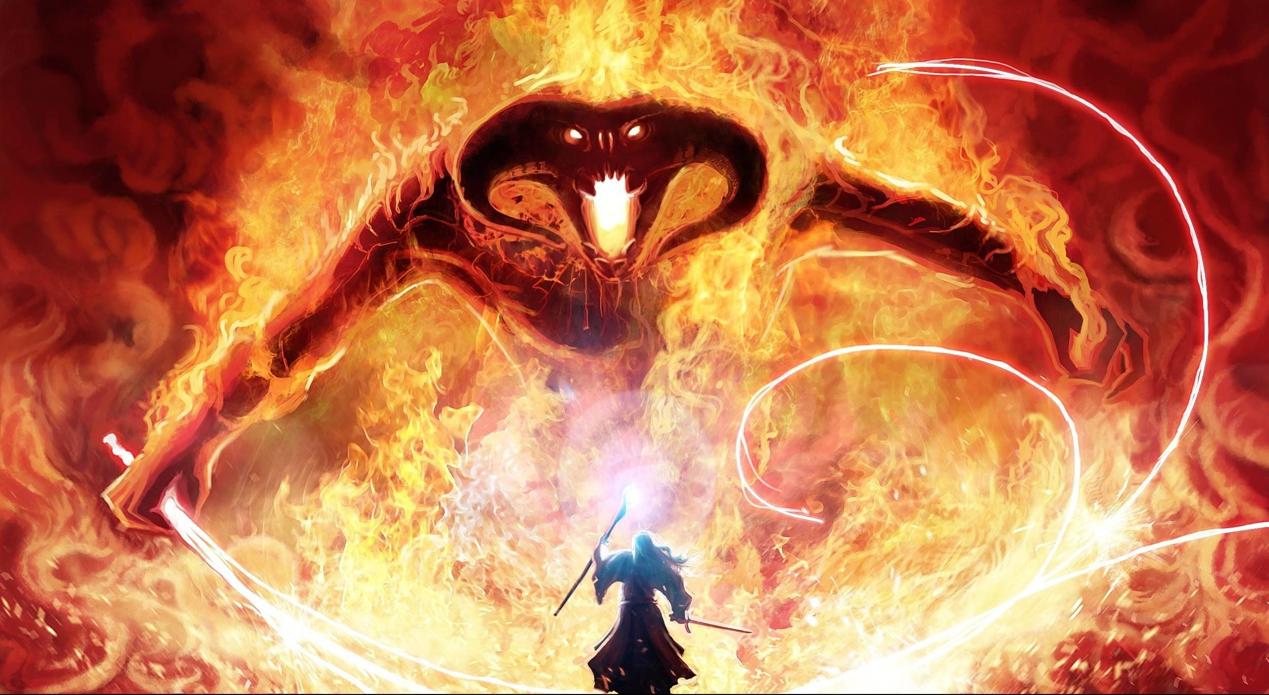 2500x1370 Gandalf And The Balrog Hd Wallpaper Download Hd Wallpaper High Balrog Lord Of The Rings Gandalf