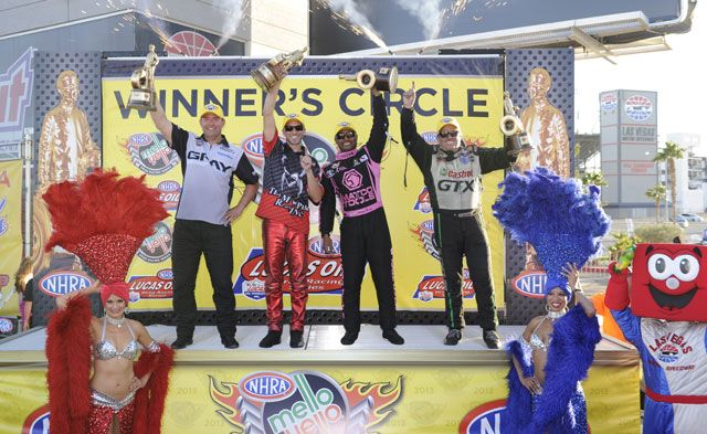 NHRA Toyota Nationals winners in Vegas...Shane Gray, Matt Smith, Antron Brown and John Force.