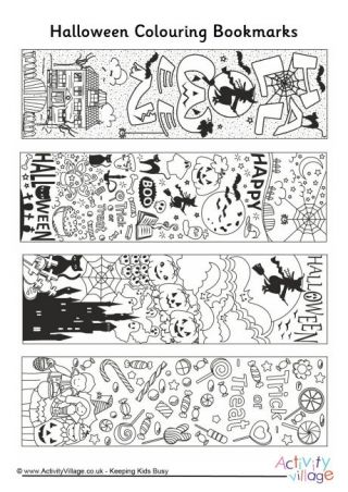 halloween doodle colouring bookmarks - Printable Halloween Activity Pages