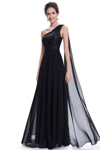 Black One Shoulder Sequin Chiffon Evening Dress. Add a pair of heels ...