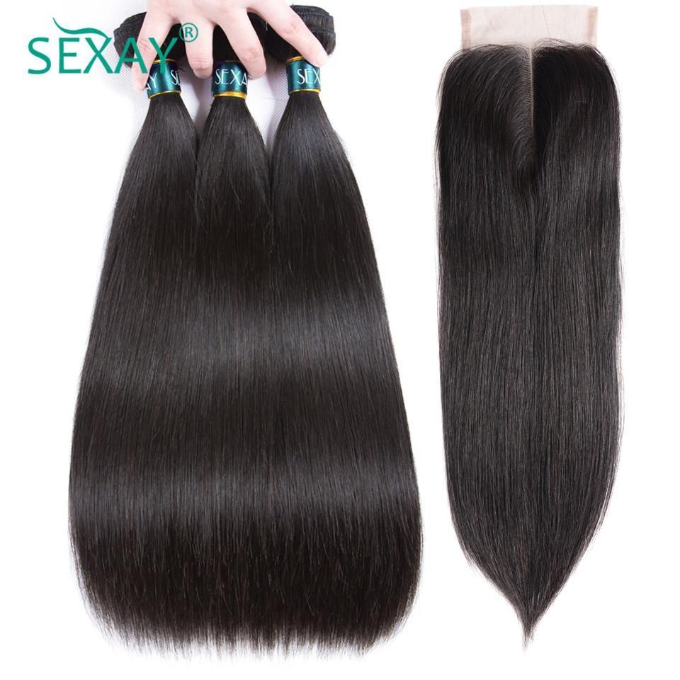 Straight hair bundles with closure Brazilian straight
