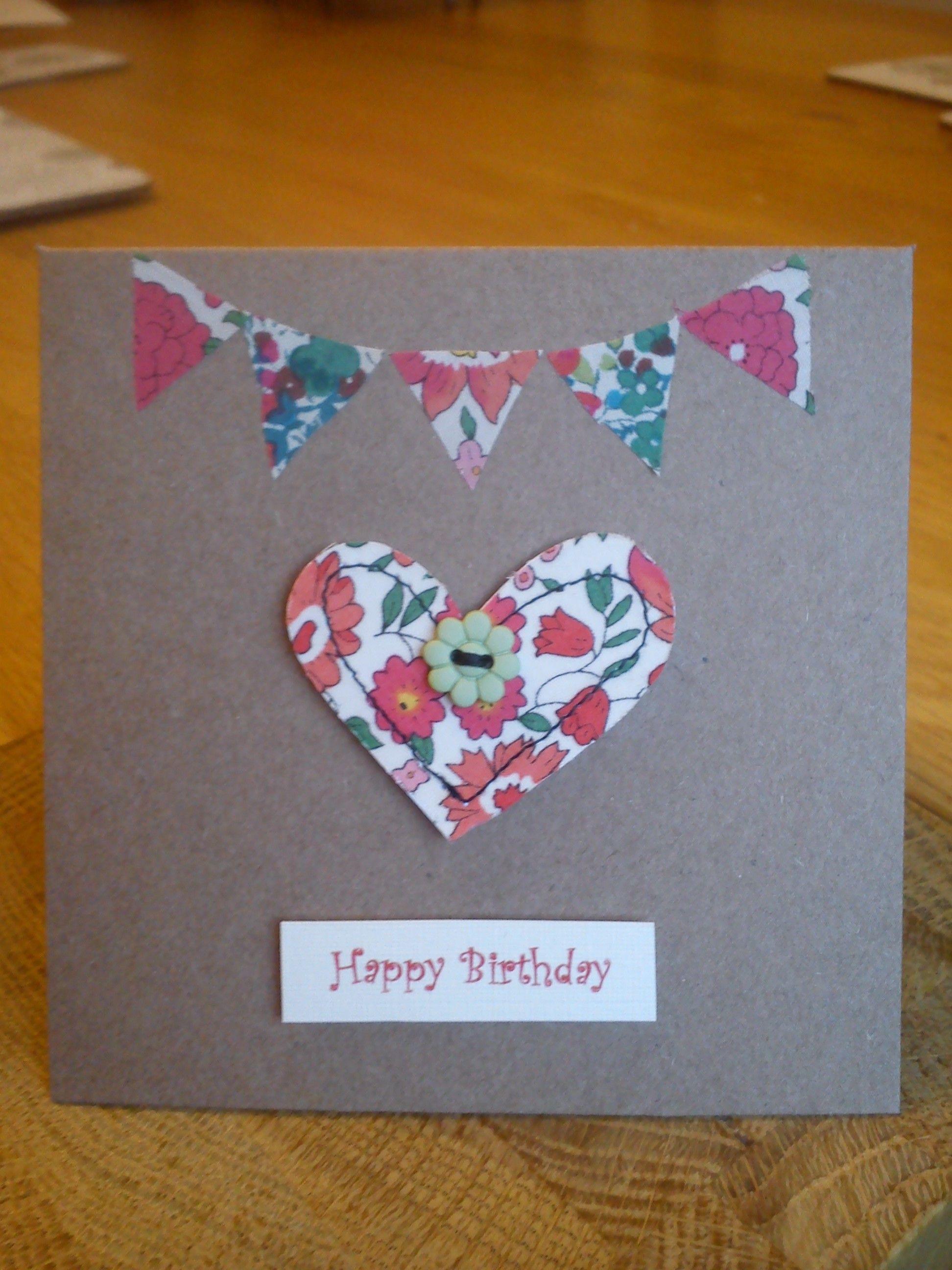 Hand made, stitched Liberty fabric birthday card