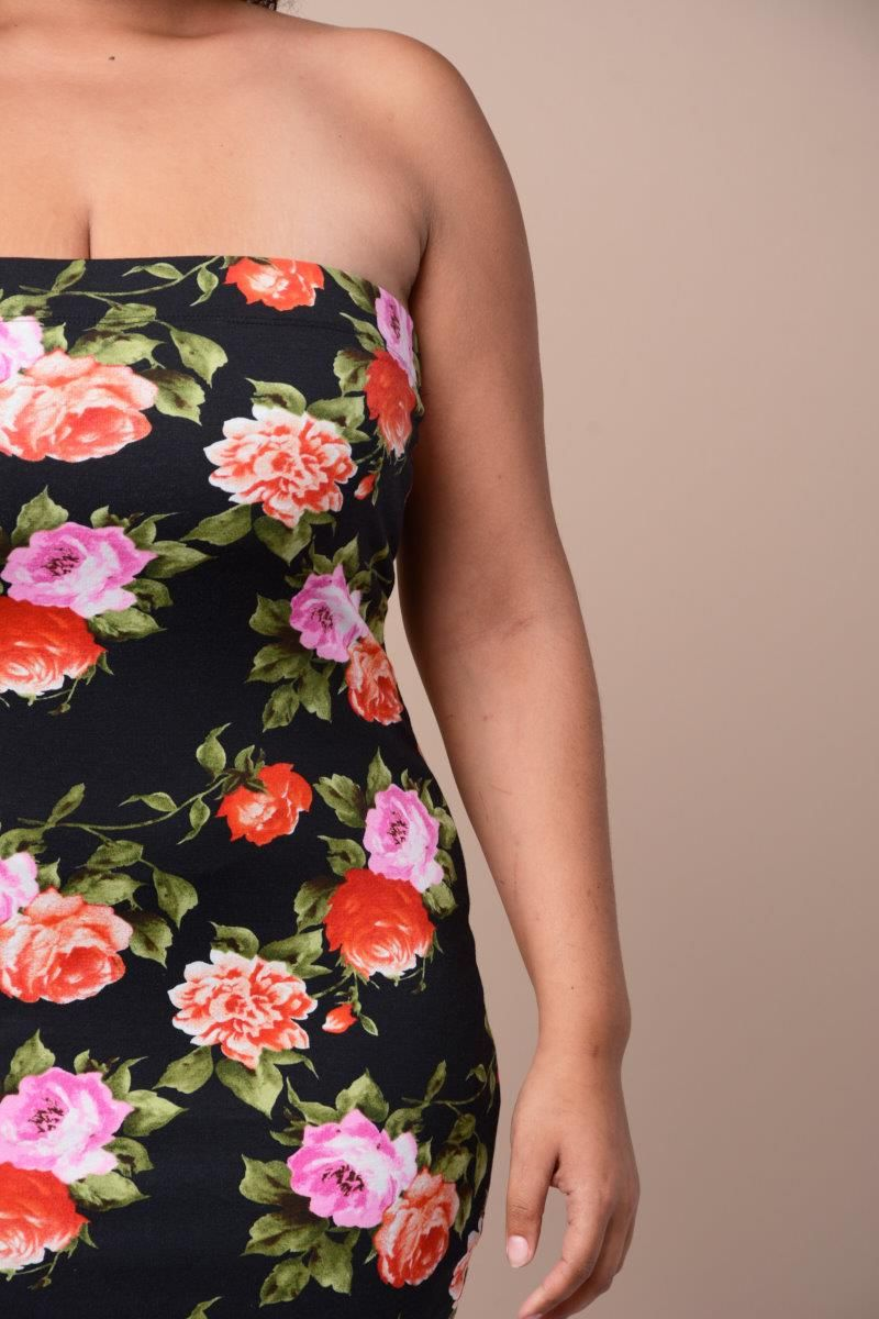 901d82024c Floral Tube Top Midi Dress