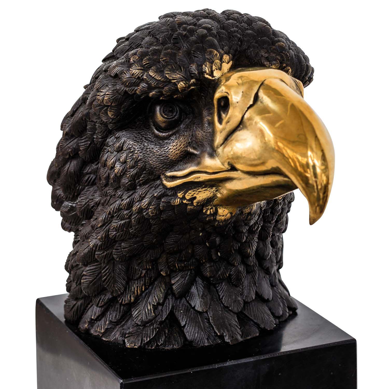 Bronzefigur Adler Kopf Bronze Skulptur Statue Eagle Tierfigur Dekoration Antik