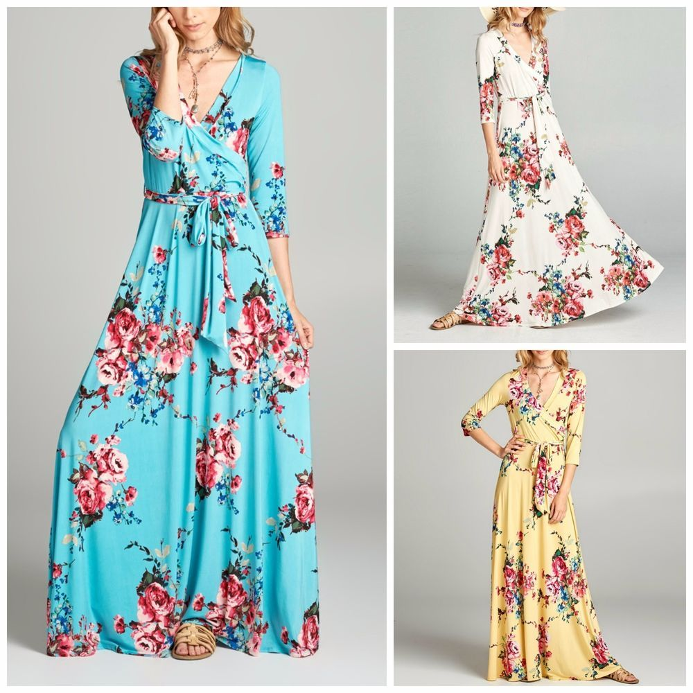 Janette THE FAMOUS FLORAL LONG SLEEVE MAXI WRAP DRESS L.A.USA Made ...