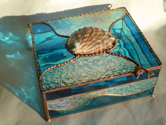 Large Abalone Box Hand Made Stained Glass Jewelry Box with Dolphin