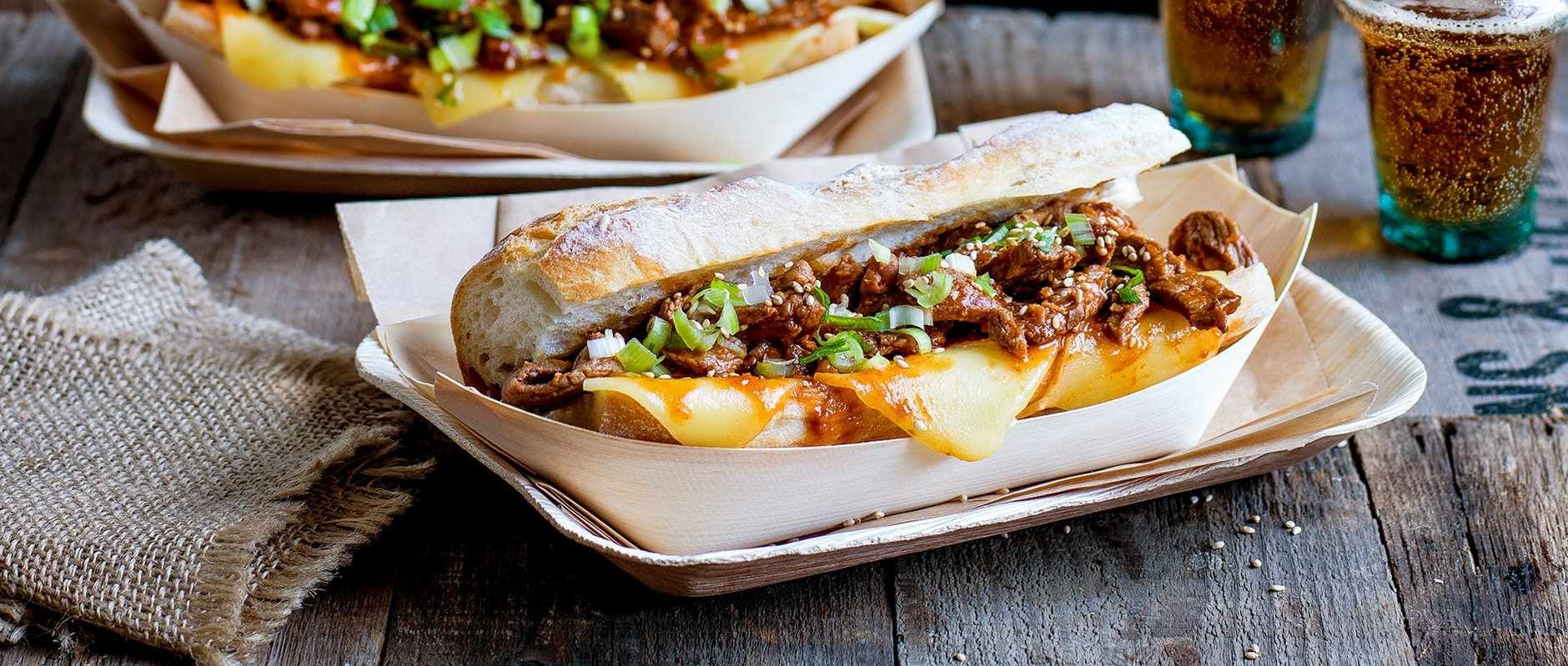 Philly cheese steak + Korean bulgogi is a marriage made in heaven sometimes known as a koagie. This is indulgent sandwich is super easy to make
