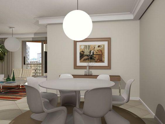 Sala de jantar pequena com mesa moderna e lustre redondo - Mesas de sala modernas ...