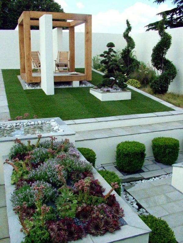 Garten Idee Auffallend Struktur Gartengestaltung Modern Pictures
