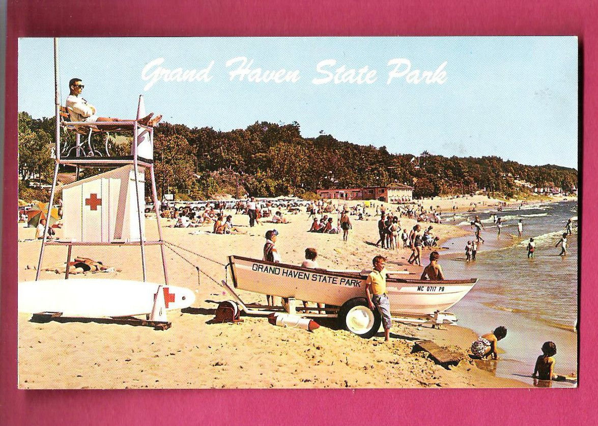 1964 Postcard Of Grand Haven State Park Michigan Beach Scene I Was There And Remember Life Guard Stands 15 Years Young The Good Old Days