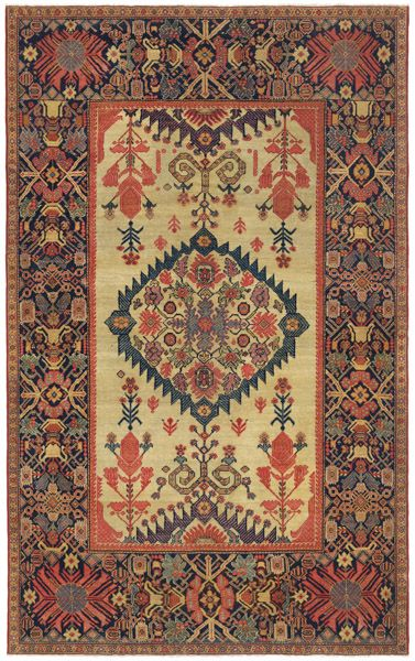 Rare Ivory Persian Ferahan Rug In The Sunburst Medallion