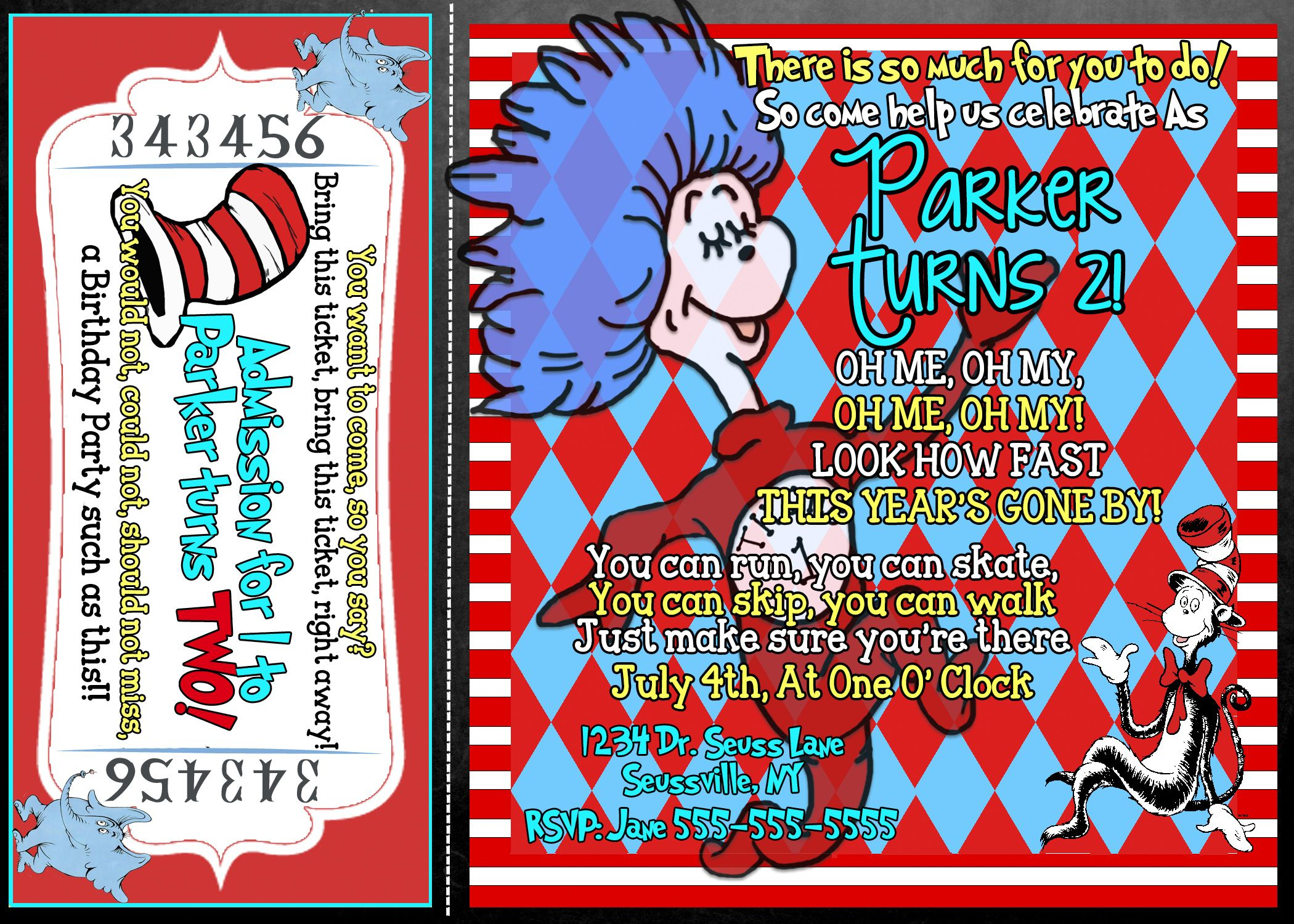 Thing 1 and Thing 2 birthday party invitations for twins or one ...