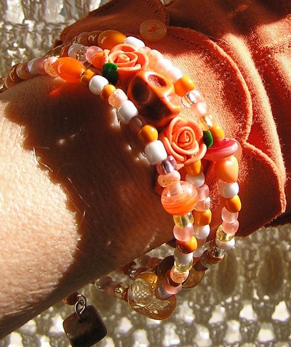 Day of the Dead Bracelet Wrap Around Memory Wire by shabbyskull, $8.00 I am not a fan of Etsy but I am a big fan of this shoppe because it is my mom! Please show her some love! (She is 80) LOL