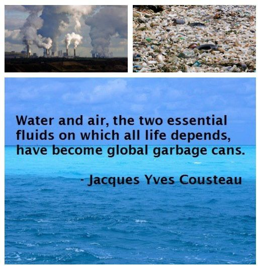 Water and air, the two essential fluids on which all life depends have become global garbage cans.  --Jacques Yves Cousteau