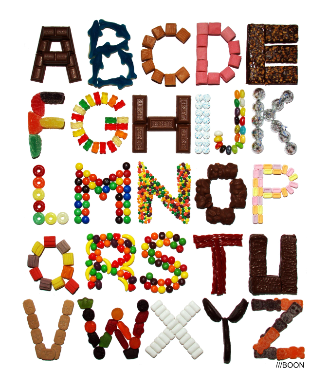 Kitchen Poster Food As Alphabet With Food Name: Mike BaBoon Design: Candy Alphabet Each Letter Made From A