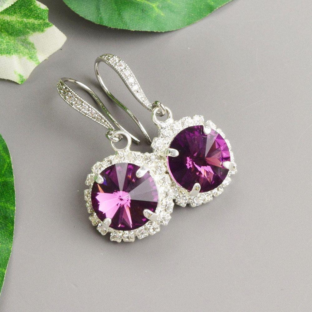 Purple Earrings Amethyst Swarovski Crystal Silver Bridesmaid Wedding Jewelry
