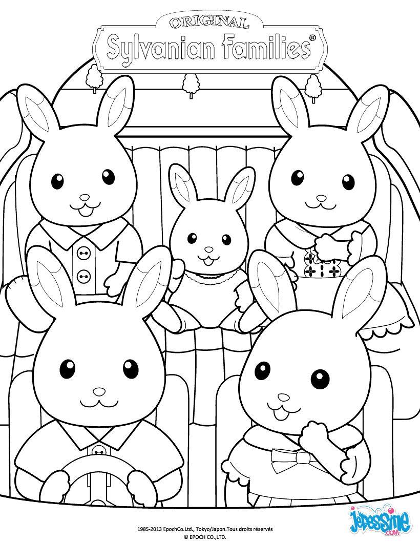 coloriage sylvanian families la famille lapin en voiture