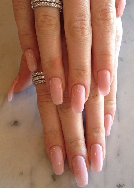 Natural Pink Round Nails Squoval Acrylic Nails Pink Gel Nails Pink Nails