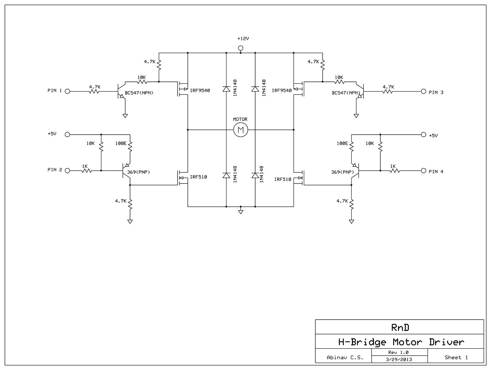 H-Bridge Motor Driver using MOSFETs and Transistors - schematic