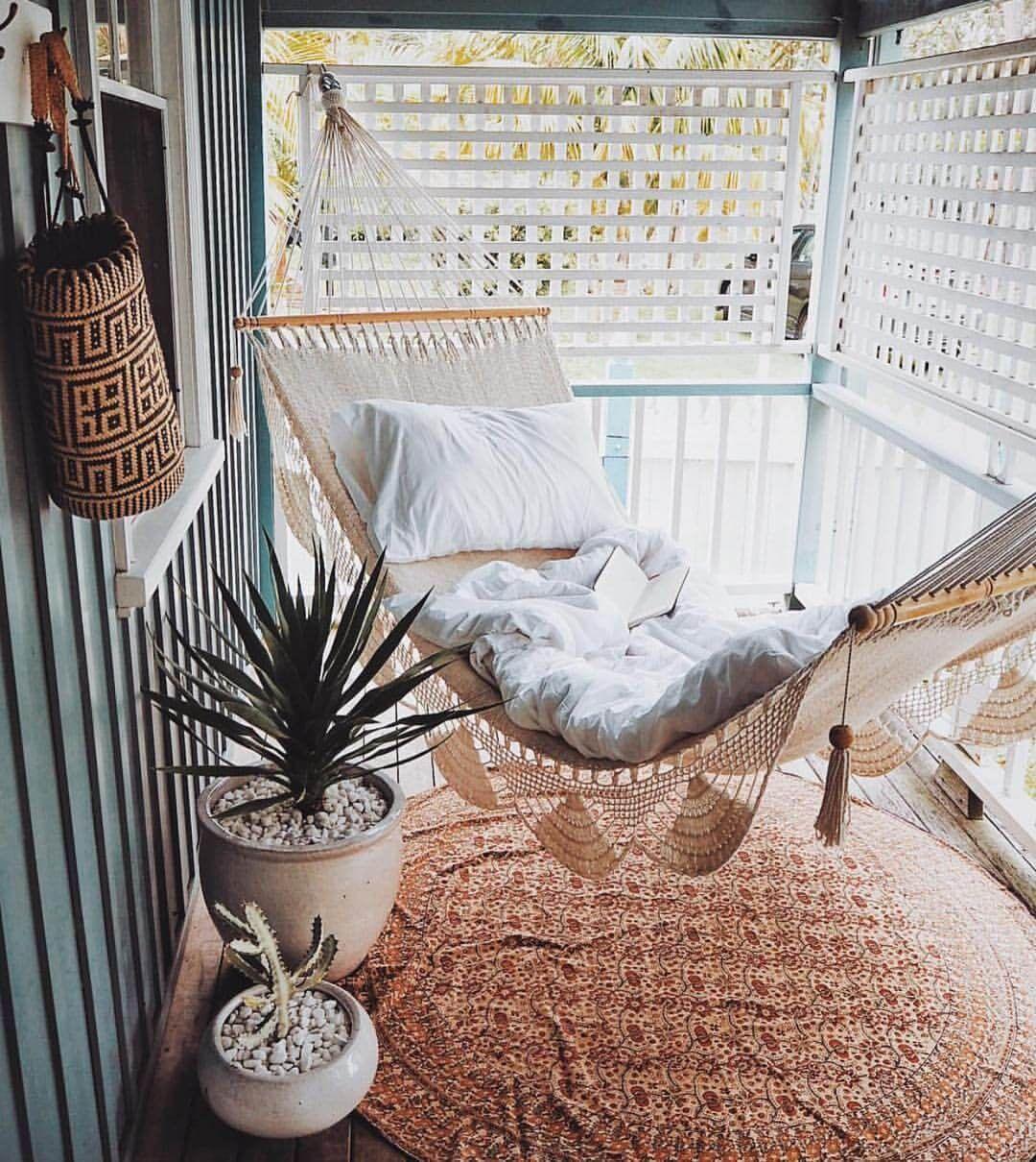 Cozy Summertime Bohemian Porch Hammock Gemutliches Haus Skandinavisches Haus Dekoration