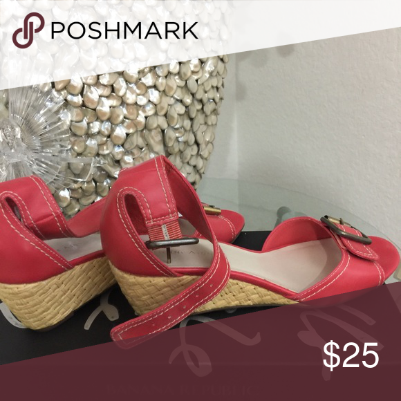 wedge sandals ettiene aigner red sandals in good condition ettienne aigner Shoes Wedges