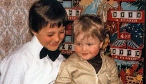 MICHAEL WITH HIS BLONDE HAIRED BROTHER RALF