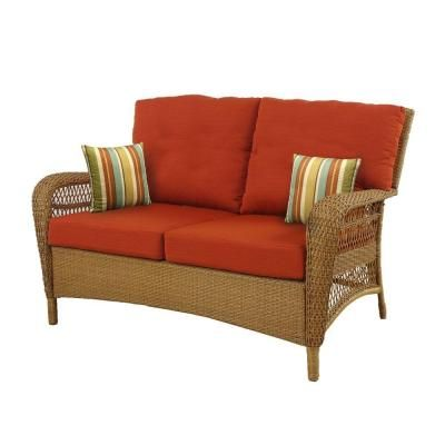 Martha Stewart Living Charlottetown Natural All Weather Wicker Patio  Loveseat With Quarry Red Cushion 65 909556/3 At The Home Depot