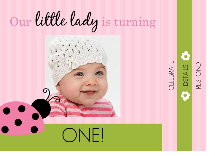 Pink And Green Ladybug 1st Birthday Booklet Invite By