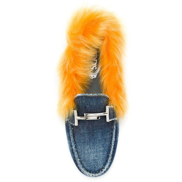 fluffy denim slider loafers - Blue Tod's E0cI2LOUCW