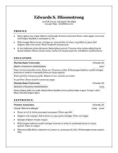 Free Traditional Resume Templates cvfreepro