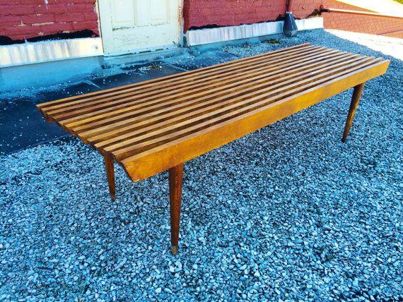 Mid Century Slat Bench 5 Foot Teak Coffee Table Danish