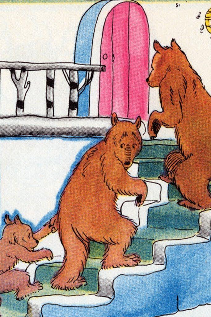 Upstairs Go The Three Bears - Goldilocks, by Julia Letheld Hahn