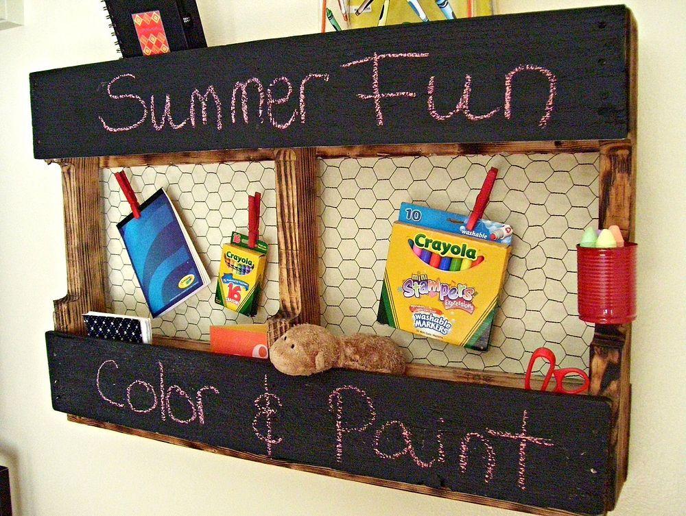 Pallet Chalk and Chicken- Wire Message Board | Diy pallet ...