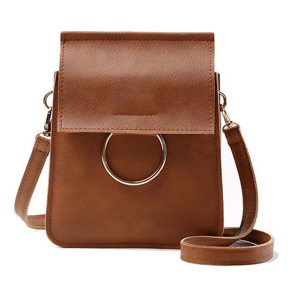 ace8fa69127fd Women PU Leather Vintage Solid Color Crossbody Bag Smartphone Bag Little Shoulder  Bag