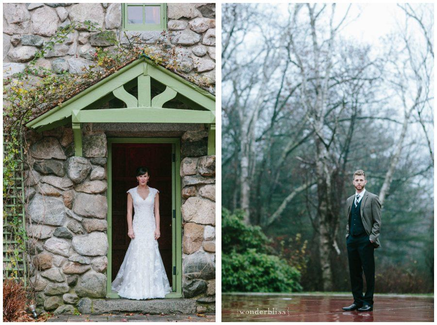 November Wedding on a beautiful foggy day in a rustic New