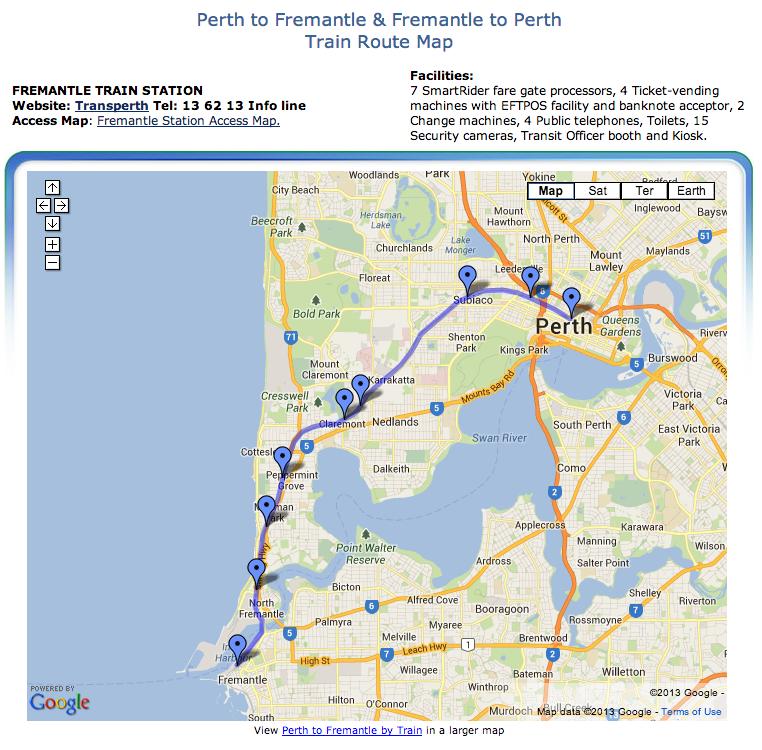 Perth to Fremantle Train Rail Map Fremantle Western Australia