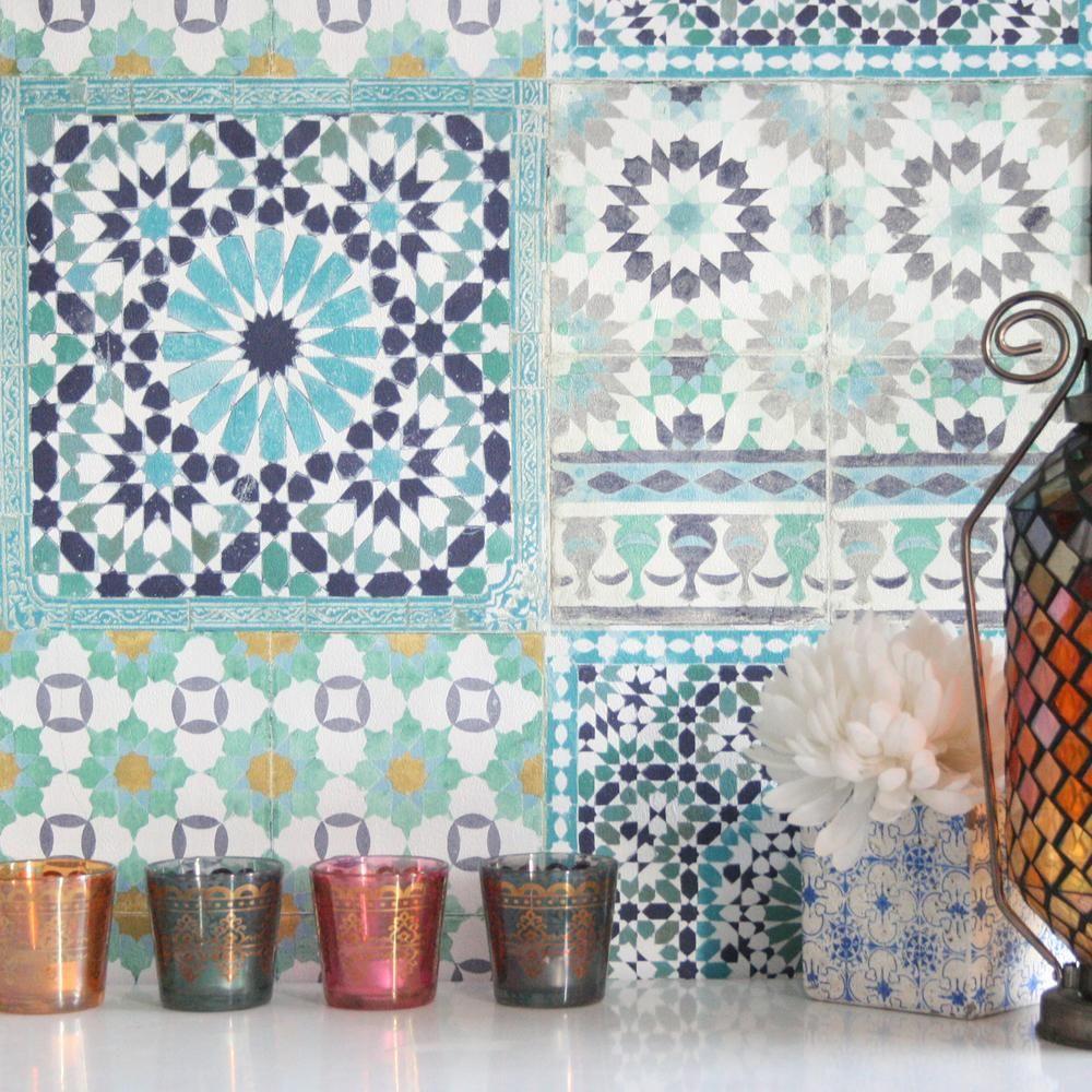 Marrakesh Moroccan Reclaimed Mosaic Tile Wallpaper Blue