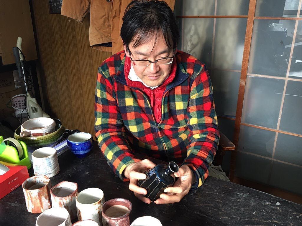 Shino artist Mr. Higuchi Masayuki #mino #japanesepottery #tea #teatime #teaaddict #teacup #pottery #ceramics  #shino