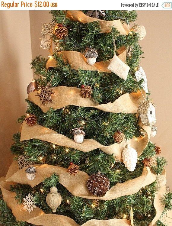sale burlap christmas tree ribbon burlap by ajrusticcreations