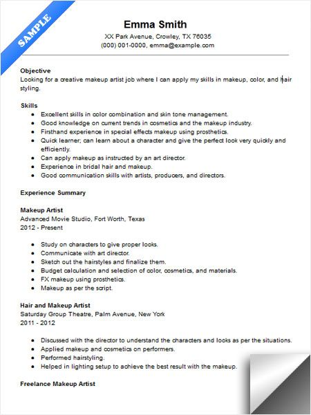 Makeup Artist Resume Sample  Resume Examples    Artist