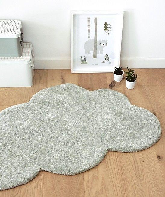 Original mini alfombra nube en color gris claro para dar un