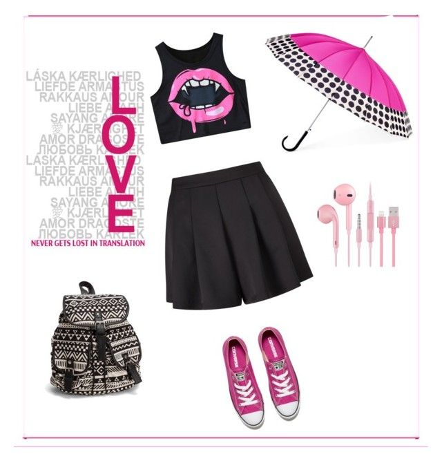 """""""Pink Star"""" by marijana-vitas ❤ liked on Polyvore featuring Miss Selfridge, Converse, NLY Accessories and ShedRain"""