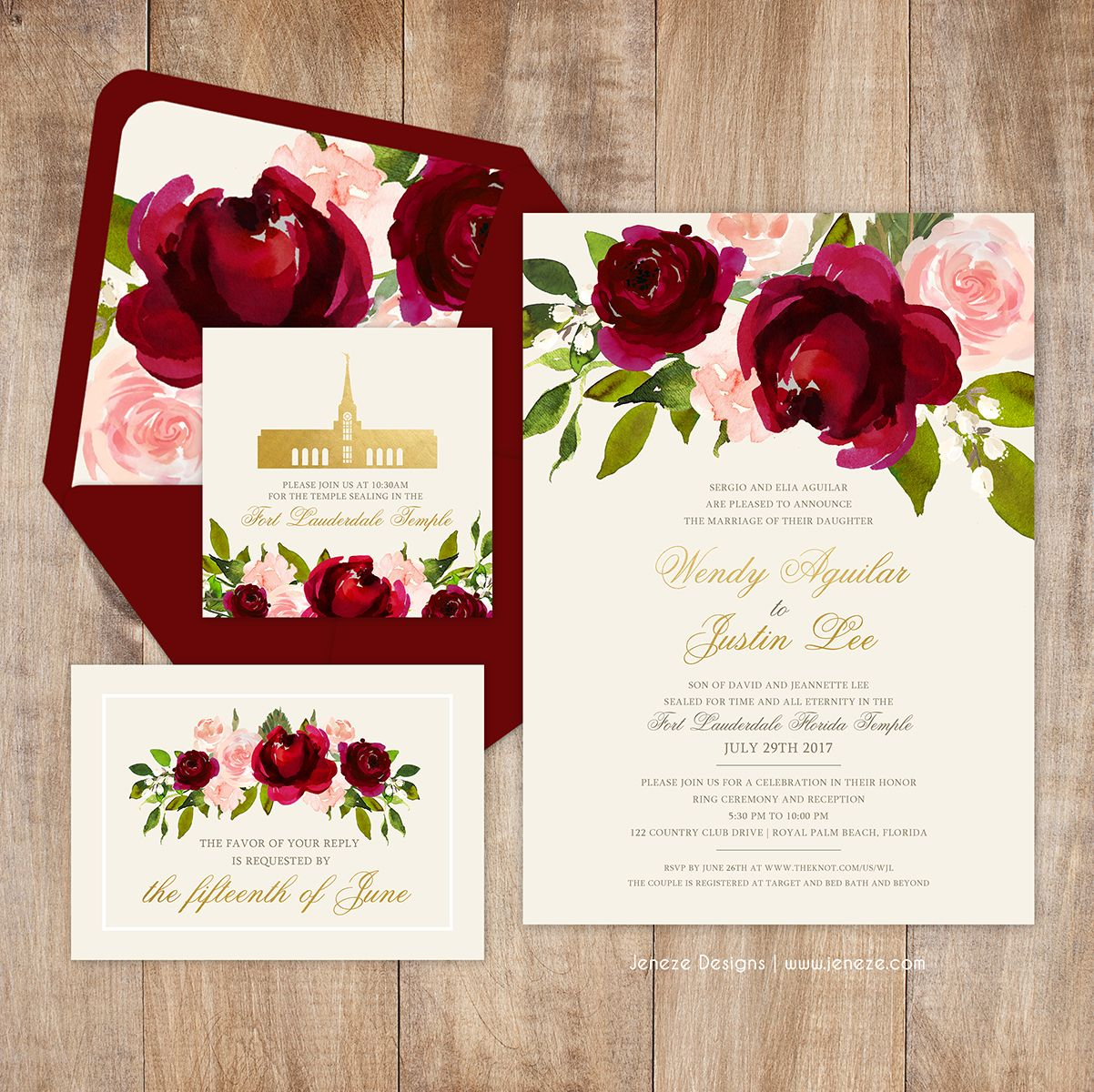 Beautiful bold red and pink floral wedding invitations. Love the ...