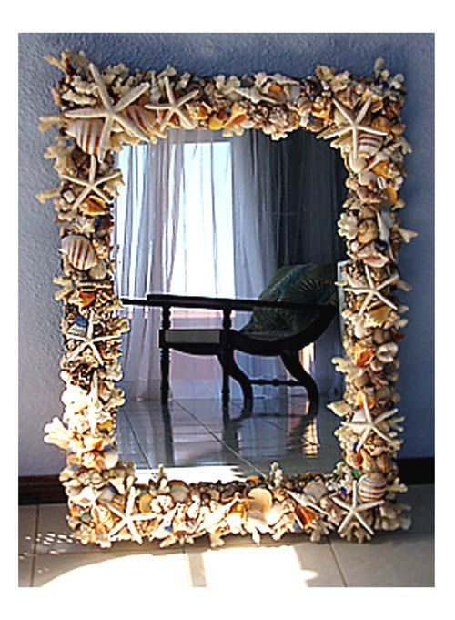 Seashell Mirror Would Love To Have A Whole Seashell Bathroom One Day Crafty Fun Pinterest