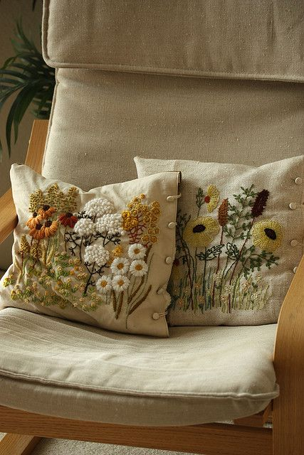 These are gorgeous!  crewel embroidery pillow by mellow_stuff, via Flickr